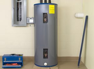 residential-water-heater-with-panels-removed-for-service